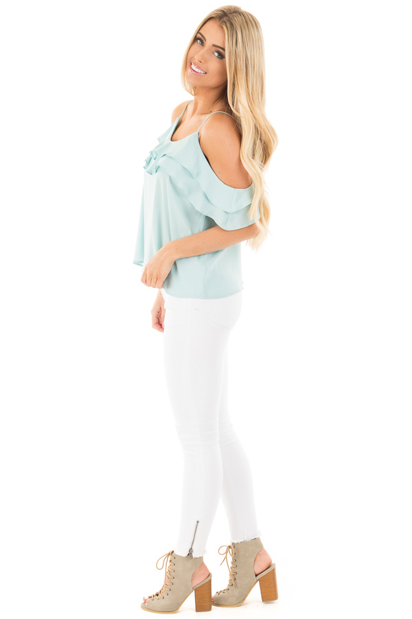 Blue Mint Chiffon Cold Shoulder Tank with Ruffle Details side full body