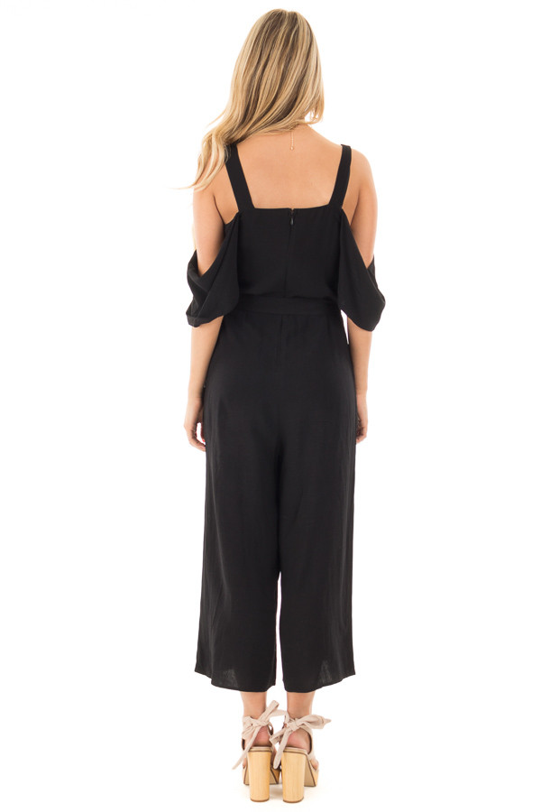 Black Cold Shoulder Jumpsuit with Waist Tie and Side Pockets back full body