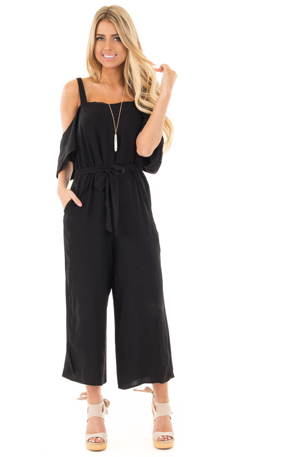 Black Cold Shoulder Jumpsuit with Waist Tie and Side Pockets front full body