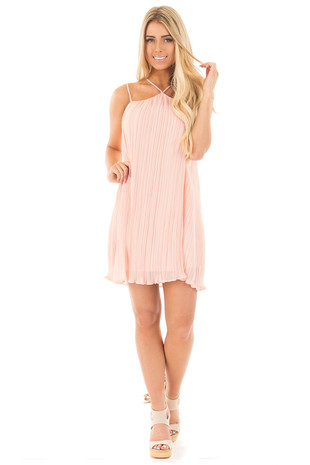 Peach Pleated Chiffon Spaghetti Strap Tank Top Dress front full body