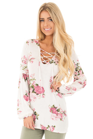 Ivory Blush Floral Criss Cross Top with Poof Sleeve Detail front close up