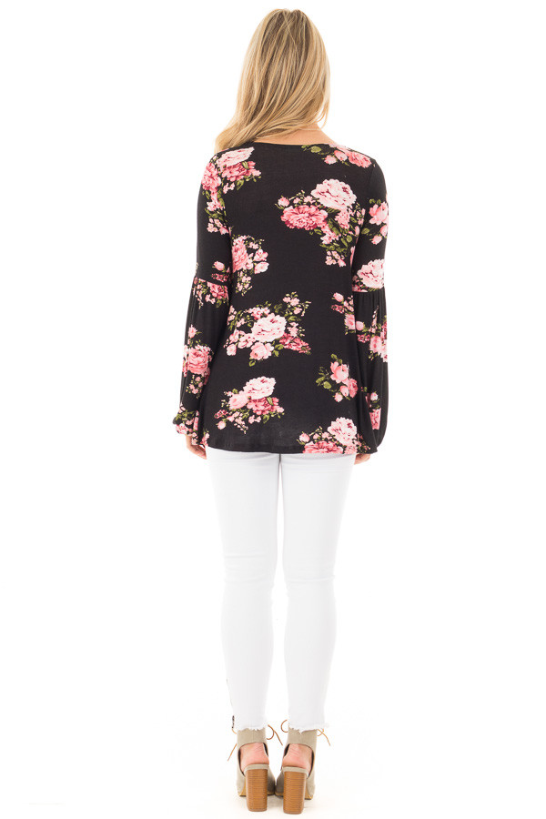 Black Blush Floral Criss Cross Top with Poof Sleeve Detail back full body