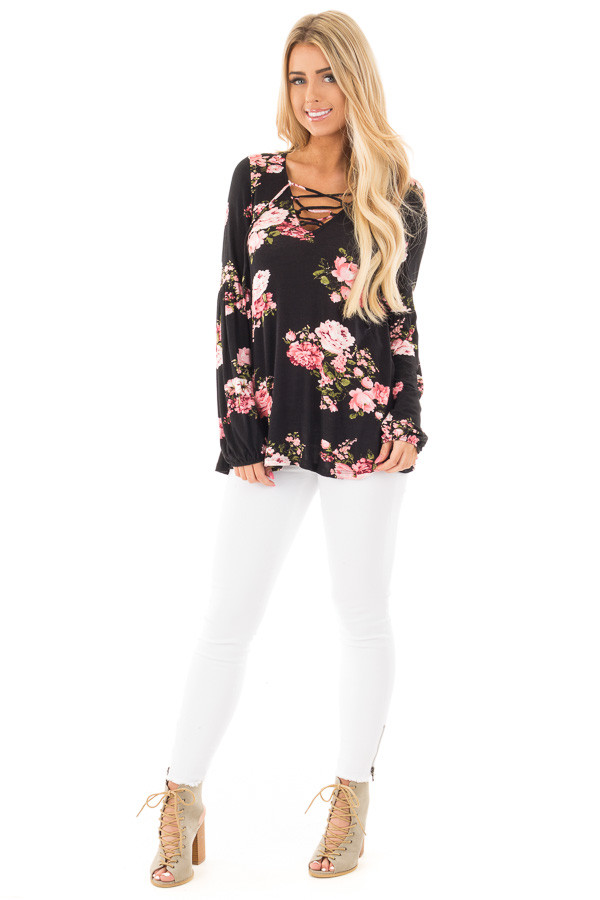 Black Blush Floral Criss Cross Top with Poof Sleeve Detail front full body