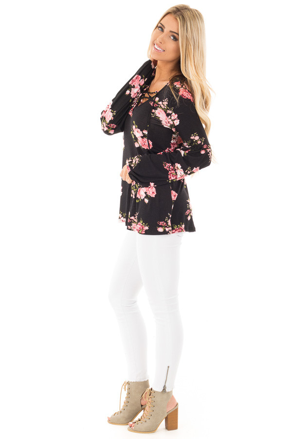 Black Blush Floral Criss Cross Top with Poof Sleeve Detail side full body