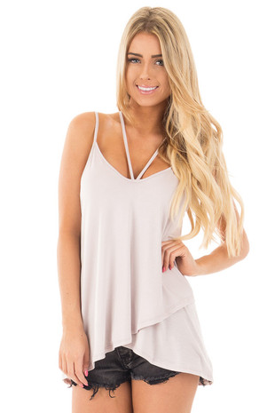 Misty Lavender Tank Top with Asymmetrical Hem front close up