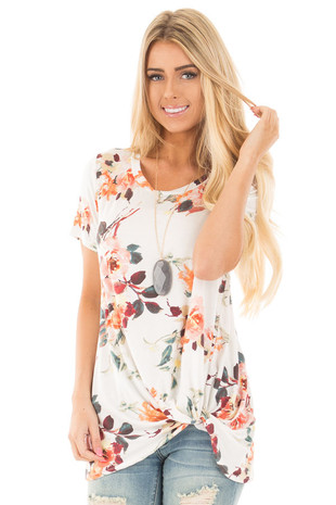 Ivory Floral Cap Sleeve with Twist Detail Top front closeup  up