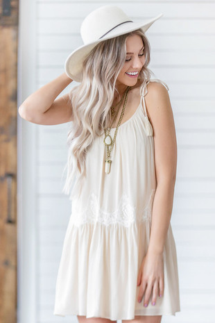 Light Beige Woven Tank Dress with Cream Lace Details front close up