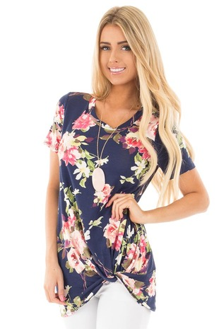 Navy Floral Cap Sleeve with Twist Detail Top front close up
