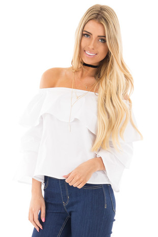 Off White Off the Shoulder Top with Tiered Sleeves front close up