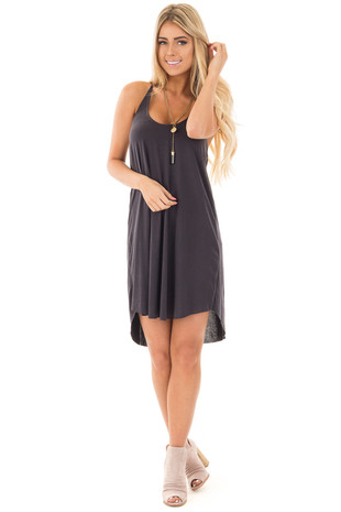 Black Soft Knit Tank Dress with T Strap Back Detail front full body