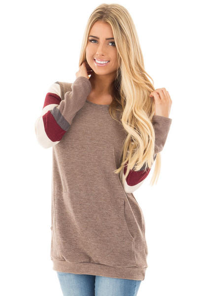 Latte Sweater with Cream and Burgundy Striped Sleeves front close up