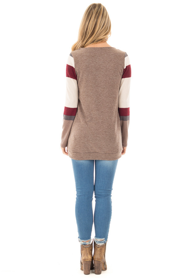 Latte Sweater with Cream and Burgundy Striped Sleeves back full body
