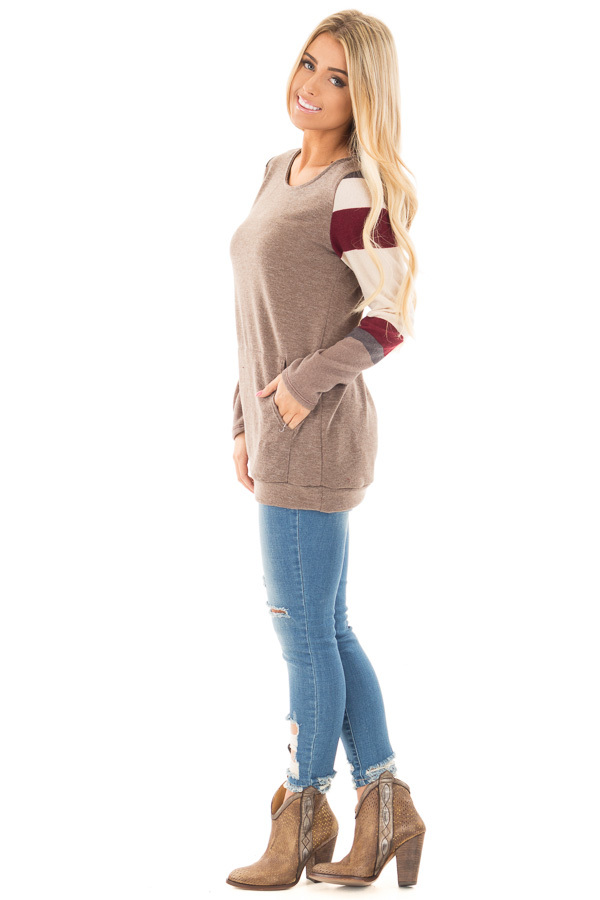 Latte Sweater with Cream and Burgundy Striped Sleeves side full body