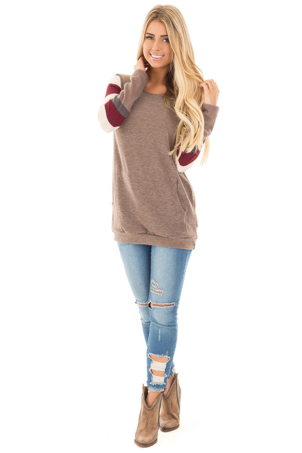 Latte Sweater with Cream and Burgundy Striped Sleeves front full body