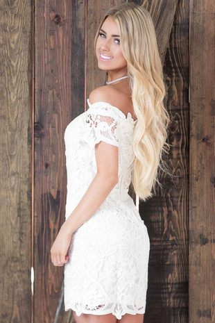 Off White Detailed Lace Off the Shoulder Dress side close up