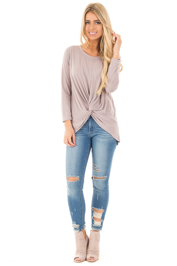 Medium Dark Wash Destroyed Cropped Jeans front full body