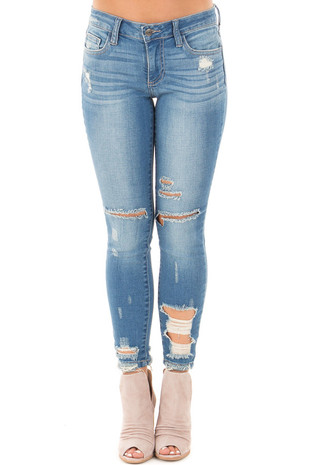 Medium Dark Wash Destroyed Cropped Jeans front view