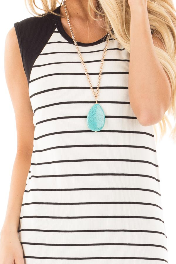 Black and Ivory Striped Tank with Black Contrast detail