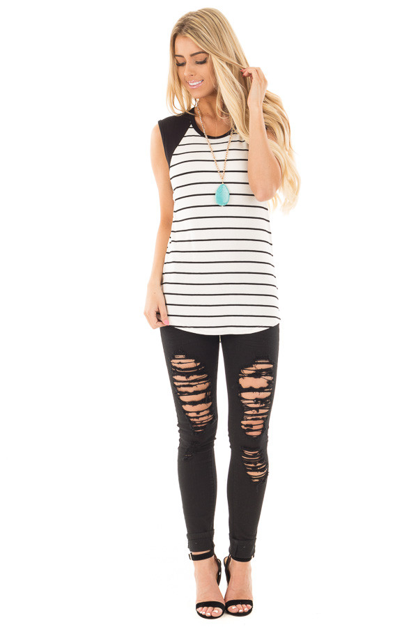 Black and Ivory Striped Tank with Black Contrast front full body