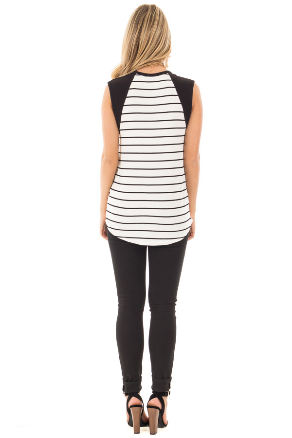 Black and Ivory Striped Tank with Black Contrast back full body
