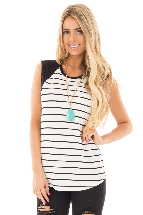 Black and Ivory Striped Tank with Black Contrast front close up