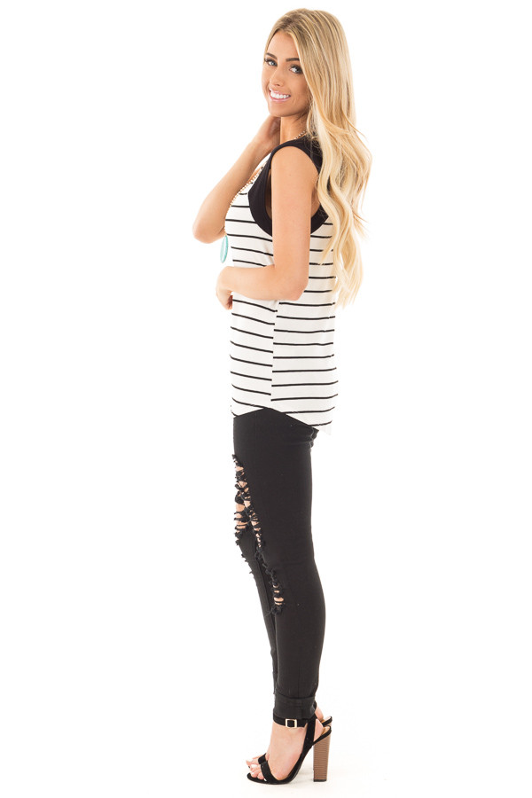 Black and Ivory Striped Tank with Black Contrast side full body