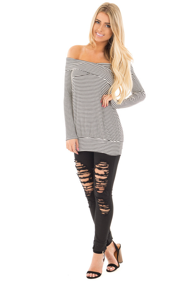 Black and White Striped Top with Cross Over Details front full body