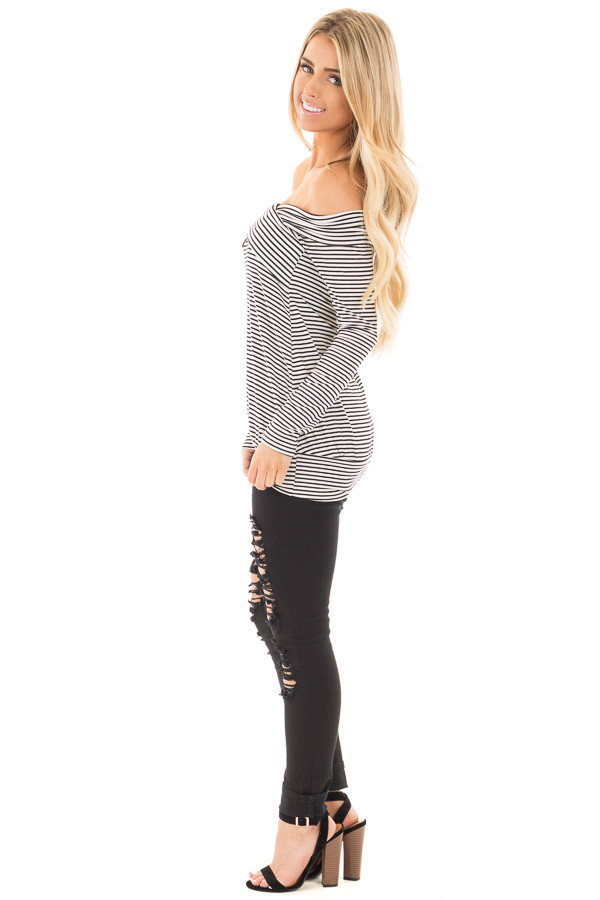 Black and White Striped Top with Cross Over Details side full body