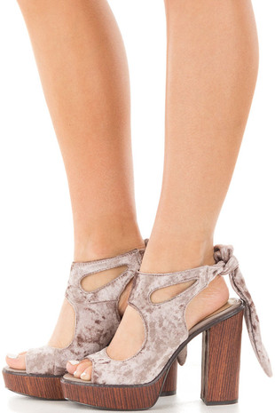 Crushed Velvet Platform Sandal with Tie Back Detail side view