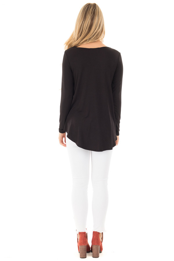 Black Soft Knit Long Sleeve Top with Caged Neckline back full body