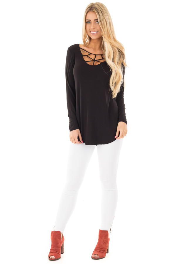 Black Soft Knit Long Sleeve Top with Caged Neckline front full body