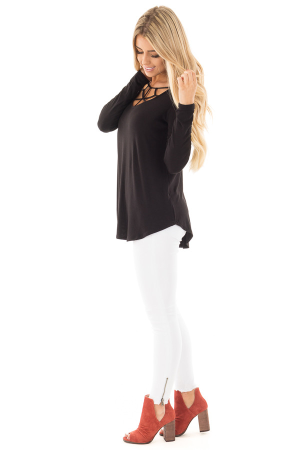 Black Soft Knit Long Sleeve Top with Caged Neckline side full body