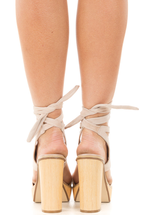 Blush Suede Platform Sandal with Tie Back Detail back full body