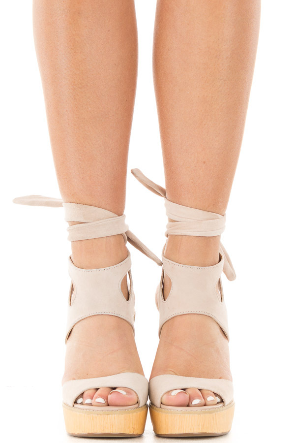 Blush Suede Platform Sandal with Tie Back Detail front full body