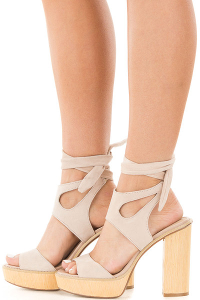 Blush Suede Platform Sandal with Tie Back Detail side full body