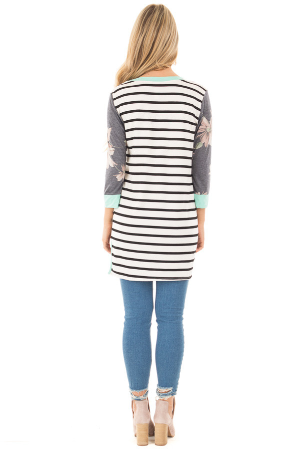 Ivory and Black Striped Tunic with Floral Sleeves and Mint Detailback full body