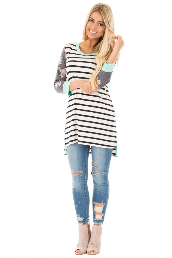 Ivory and Black Striped Tunic with Floral Sleeves and Mint Detail front full body