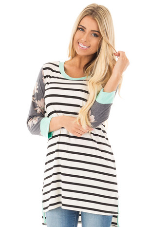 Ivory and Black Striped Tunic with Floral Sleeves and Mint Detail front close up