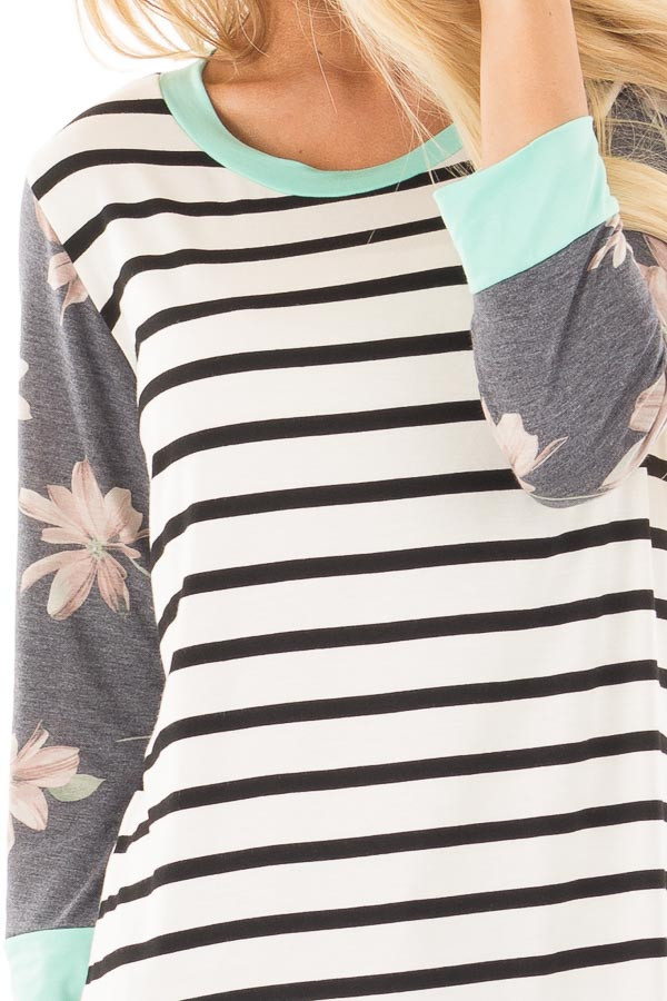 Ivory and Black Striped Tunic with Floral Sleeves and Mint Detail detail