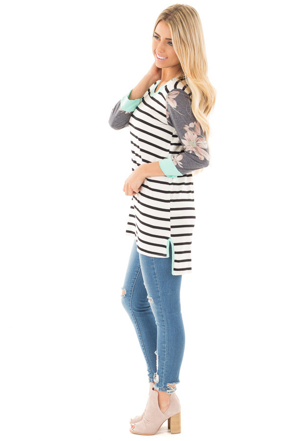 Ivory and Black Striped Tunic with Floral Sleeves and Mint Detail side full body