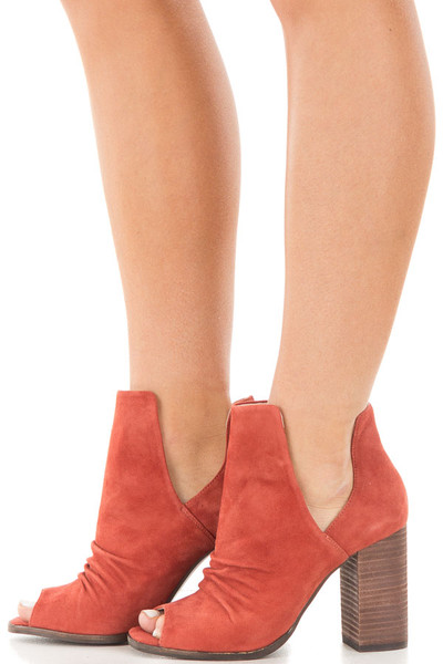 Brandy Suede Open Toe Booties with Cut Out Side Details side view