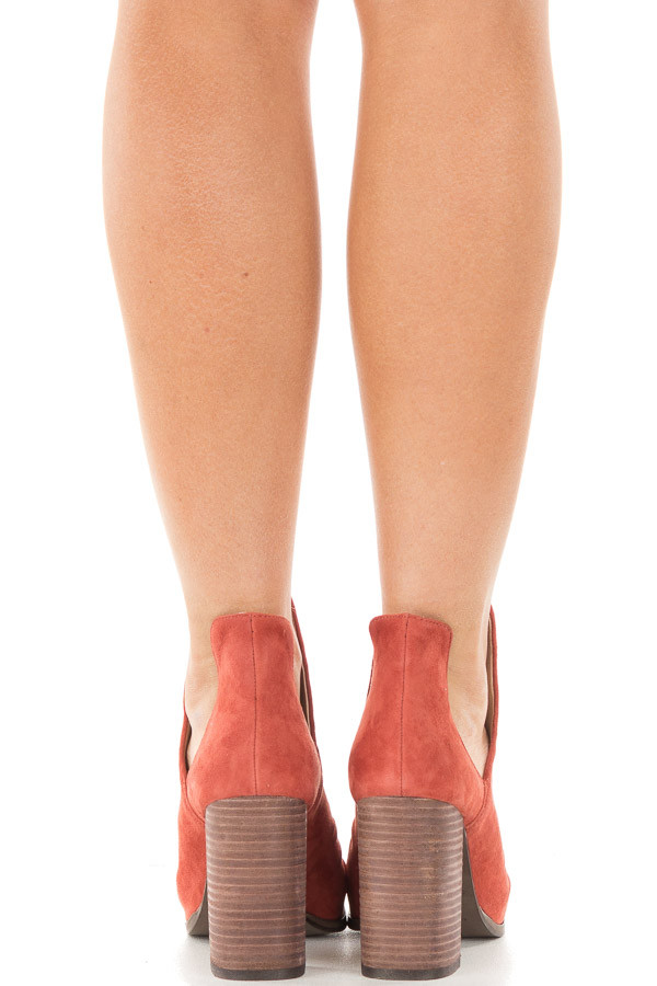 Brandy Suede Open Toe Booties with Cut Out Side Details back view
