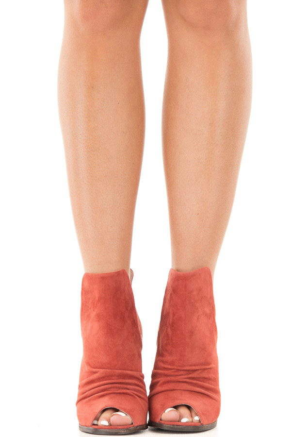 Brandy Suede Open Toe Booties with Cut Out Side Details front view