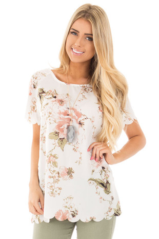 Ivory and Blush Silky Floral Top with Scalloped Detail front close up
