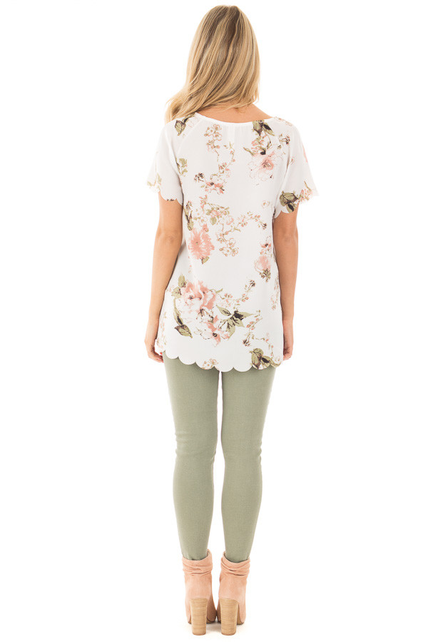Ivory and Blush Silky Floral Top with Scalloped Detail back full body