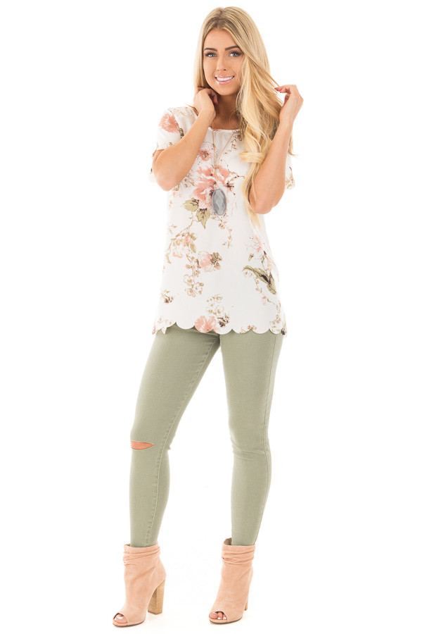 Ivory and Blush Silky Floral Top with Scalloped Detail front full body