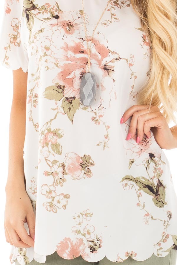 Ivory and Blush Silky Floral Top with Scalloped Detail detail