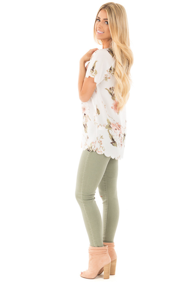Ivory and Blush Silky Floral Top with Scalloped Detail side full body