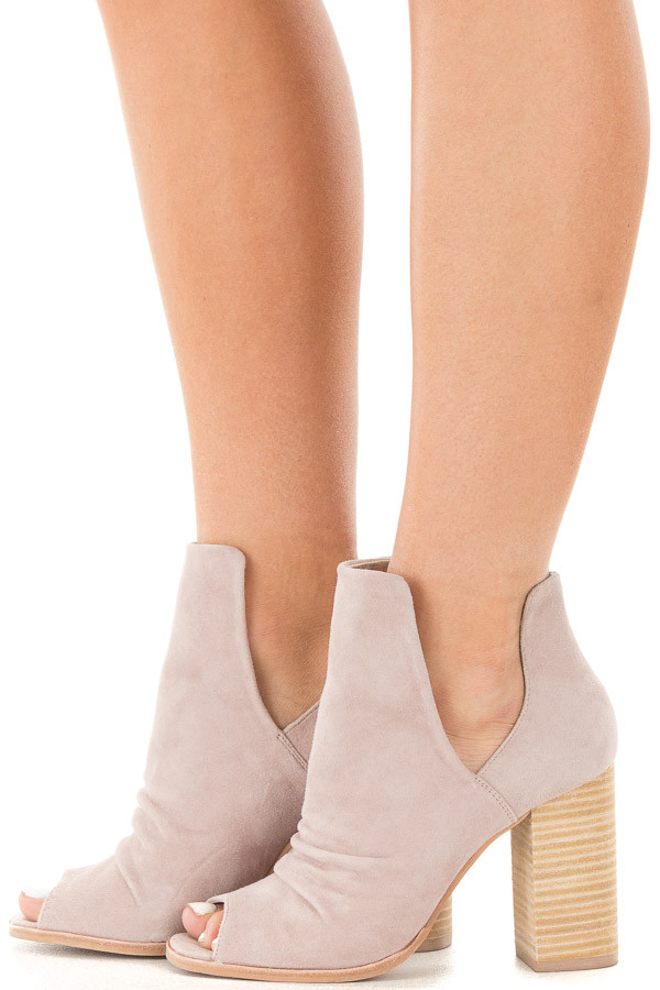 Harbor Grey Suede Open Toe Booties with Cut Out Side Details side view