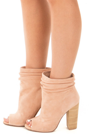 Sand Suede Ankle Bootie with Scrunched Detail side view